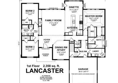 Lancaster-floorplan-alternate-stair-location-deluxe-shower-tub-option